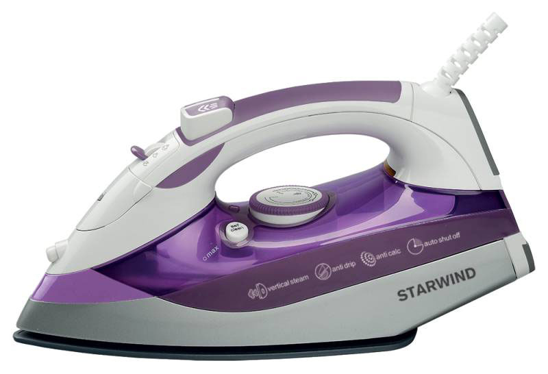 Starwind SIR8917, Purple утюгSIR8917Современный утюг Starwind SIR8917 мощностью 2500 Вт облегчит уход за одеждой и безусловно порадует вас своими поистине безграничными возможностями. Подошва утюга с керамическим покрытием обеспечивает идеальное скольжение и избавит ваши вещи даже от самых сложных складок.Прибор обладает всеми необходимыми характеристиками для отличного результата: сухое глажение, функция разбрызгивания, возможность вертикального отпаривания. Модель оснащена функцией самоочистки и противокапельной системой.Мерный стакан в комплекте