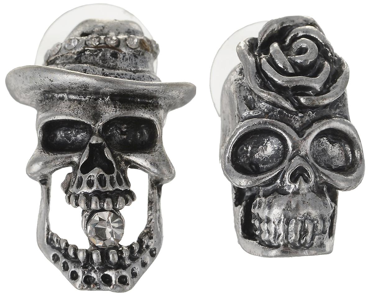 Серьги Art-Silver, цвет: серебряный. 34154-418Пуссеты (гвоздики)Серьги Art-Silver выполнены из бижутерного сплава. Декоративный элемент в виде черепа дополнен вставками из циркона. Изделие застегивается с помощью замка-гвоздика с заглушкой.