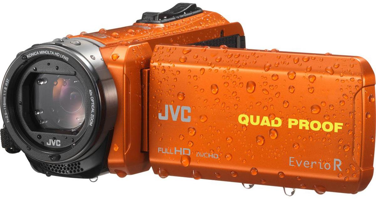 JVC GZ-R435DEU, Orange цифровая видеокамераGZ-R435DEUJVC GZ-R435DEU - видеокамера с 4 степенями защиты Quad-Proof, встроенным аккумулятором, который обеспечит работу камеры до 5 часов и встроенной флеш-памятью объемом 4 Гб.Данная модель оснащена КМОП сенсором с разрешением 2,5 Мп с обратной подсветкой, 40-кратным оптическим зумом и системой стабилизации изображения.Видеокамера поддерживает запись при закрытом ЖК экране, а также оснащена резьбой 37 мм для установки светофильтров или широкоугольного конвертора.Модель водонепроницаема при погружении на глубину до 5 м. После активного дня, проведённого на свежем воздухе, её можно вымыть под проточной водой.Прочный корпус выдерживает падение с высоты до 1,5 м. Он защищён от влаги и пыли и рассчитан на работу в широком диапазоне температур.Аккумулятор встроен внутрь корпуса, что обеспечивает ещё более высокую защиту от влаги и позволяет существенно сократить опасность повреждения видеокамеры при замене батарей в плохую погоду.