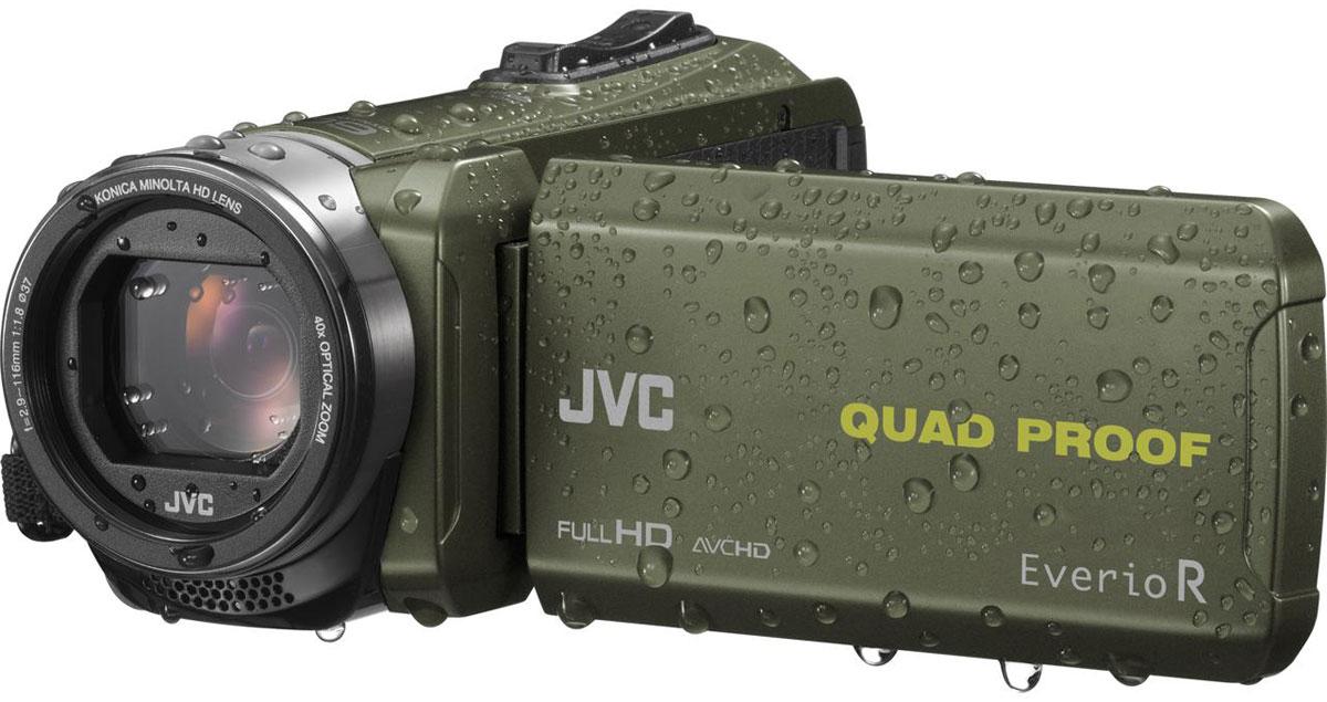 JVC GZ-R435GEU, Green цифровая видеокамераGZ-R435GEUJVC GZ-R435GEU - видеокамера с 4 степенями защиты Quad-Proof, встроенным аккумулятором, который обеспечит работу камеры до 5 часов и встроенной флеш-памятью объемом 4 Гб.Данная модель оснащена КМОП сенсором с разрешением 2,5 Мп с обратной подсветкой, 40-кратным оптическим зумом и системой стабилизации изображения.Видеокамера поддерживает запись при закрытом ЖК экране, а также оснащена резьбой 37 мм для установки светофильтров или широкоугольного конвертора.Модель водонепроницаема при погружении на глубину до 5 м. После активного дня, проведённого на свежем воздухе, её можно вымыть под проточной водой.Прочный корпус выдерживает падение с высоты до 1,5 м. Он защищён от влаги и пыли и рассчитан на работу в широком диапазоне температур.Аккумулятор встроен внутрь корпуса, что обеспечивает ещё более высокую защиту от влаги и позволяет существенно сократить опасность повреждения видеокамеры при замене батарей в плохую погоду.