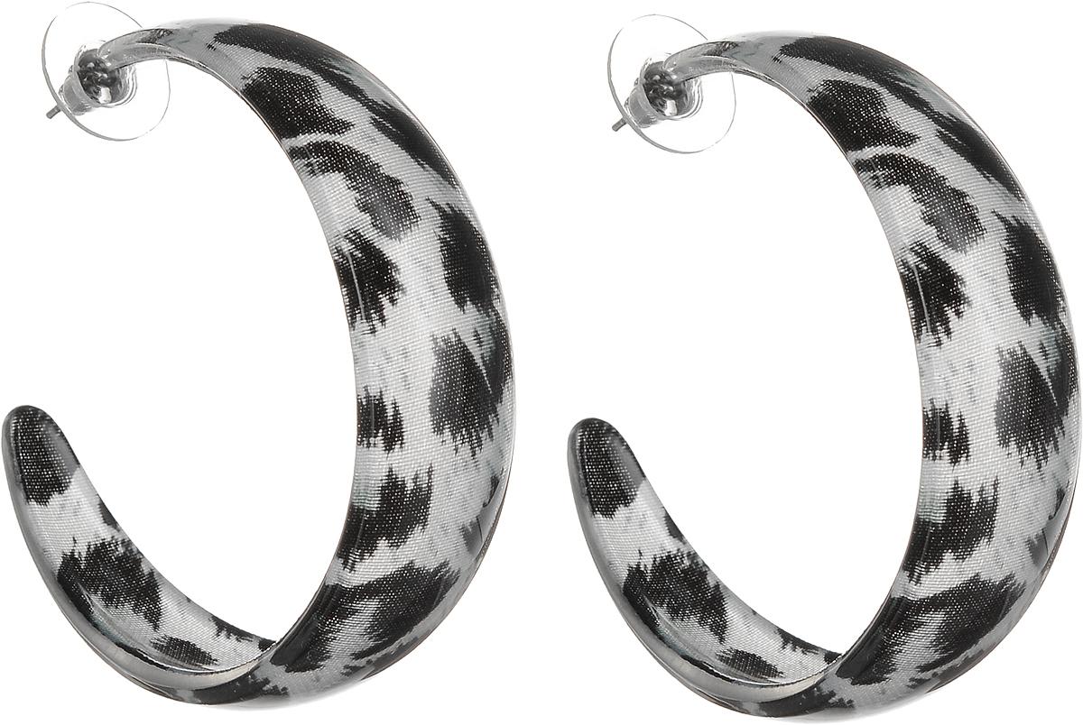 Серьги Art-Silver, цвет: черный. 50-24833-158Серьги-кольцаСерьги-кольца Art-Silver выполнены из бижутерного сплава. Декоративный элемент выполнен из полимерного материла. Изделие застегивается с помощью замка-гвоздика с заглушкой.