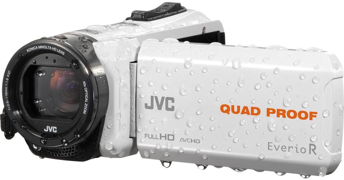 JVC GZ-R435WEU, White цифровая видеокамераGZ-R435WEUJVC GZ-R435WEU - видеокамера с 4 степенями защиты Quad-Proof, встроенным аккумулятором, который обеспечит работу камеры до 5 часов и встроенной флеш-памятью объемом 4 Гб.Данная модель оснащена КМОП сенсором с разрешением 2,5 Мп с обратной подсветкой, 40-кратным оптическим зумом и системой стабилизации изображения.Видеокамера поддерживает запись при закрытом ЖК экране, а также оснащена резьбой 37 мм для установки светофильтров или широкоугольного конвертора.Модель водонепроницаема при погружении на глубину до 5 м. После активного дня, проведённого на свежем воздухе, её можно вымыть под проточной водой.Прочный корпус выдерживает падение с высоты до 1,5 м. Он защищён от влаги и пыли и рассчитан на работу в широком диапазоне температур.Аккумулятор встроен внутрь корпуса, что обеспечивает ещё более высокую защиту от влаги и позволяет существенно сократить опасность повреждения видеокамеры при замене батарей в плохую погоду.