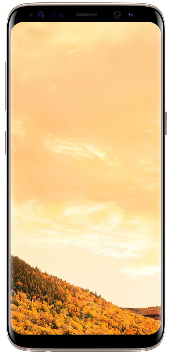 Samsung Galaxy S8 SM-G950, GoldSM-G950FZDDSERSamsung Galaxy S8 переворачивает представление о классическом дизайне смартфона. Безграничный изогнутый с двух сторон экран подчеркивает гармонию стиля и инноваций.Главная особенность дизайна - это практически полное отсутствие боковых рамок и закругленные края экрана. Какую бы из диагоналей 5,8 или 6,2 вы не выбрали - благодаря симметричному дизайну и эргономике им будет удобно пользоваться даже одной рукой.Увеличенный экран Samsung Galaxy S8 идеально подходит для многозадачности. Переписывайтесь с друзьями, не отрываясь от просмотра любимого фильма. Все что нужно - просто открыть чат в режиме многозадачности.Кнопки Домой, Назад и Недавние приложения теперь виртуальные и перенесены на экран. При нажатии они откликаются аналогично классическим, однако имеют более расширенный функционал.Теперь иконки имеют логическую цветовую окраску, так что вы можете идентифицировать приложение в одно мгновение. Цвета и линии выполнены в одном стиле, что очень удобно с точки зрения восприятия.Теперь вы можете делать фотографии, не задумываясь об условиях съемки. Неважно, будет ли это выполнение трюков на скейтборде или задувание свечей на праздничном торте - фотографии, сделанные с помощью Samsung Galaxy S8 всегда будут четкими, яркими и живыми.Снимайте яркие и четкие селфи, где бы вы ни находились. Фронтальная камера (8 Мпикс) оснащена светосильным объективом для идеальных селфи даже ночью, а также поддерживает интеллектуальный автофокус с функцией распознавания лиц.Технология Dual Pixel обеспечивает настолько быструю и безупречную автофокусировку, что можно запечатлеть даже самые резкие движения в условиях недостаточного освещения.Снять фотографии профессионального качества стало возможным с Samsung Galaxy S8. Все, что нужно - проведите влево, активируйте режим Про и настройте камеру в зависимости от ваших задач.Samsung Galaxy S8 гарантирует бескомпромиссную защиту данных. Сканер радужной оболочки глаза будет надежно защищать всю вашу 