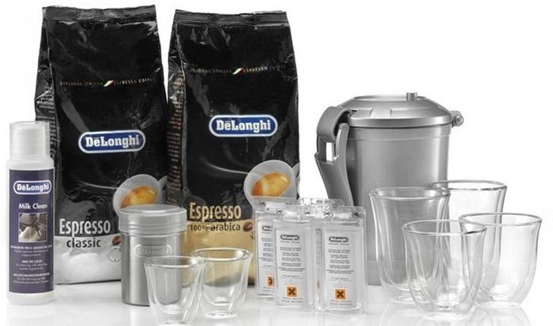DeLonghi DeLuxe Pack набор аксессуаров для кофемашины5513291231Набор аксессуаров для кофе DeLuxe - солидный подарок ценителю кофе. В комплекте две килограммовые упаковки кофе в зернах сортов Классик и 100% арабика, герметичный вакуумный контейнер для сохранения свежести кофе, дозатор, средство для чистки капучинатора, средство для декальцинации, 3 пары чашек: для экспрессо, для капучино и для латте макиато.