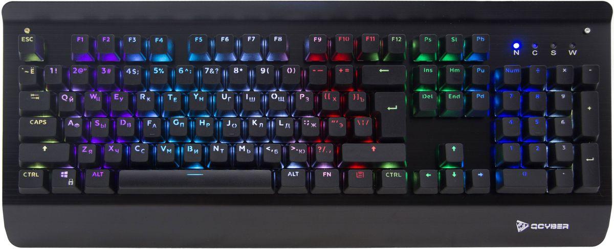 Qcyber Zadiak, Black игровая клавиатураQC-03-007DV01Подсветка клавиш: RGB, anti-ghosting, металлический корпус, USB2.0.