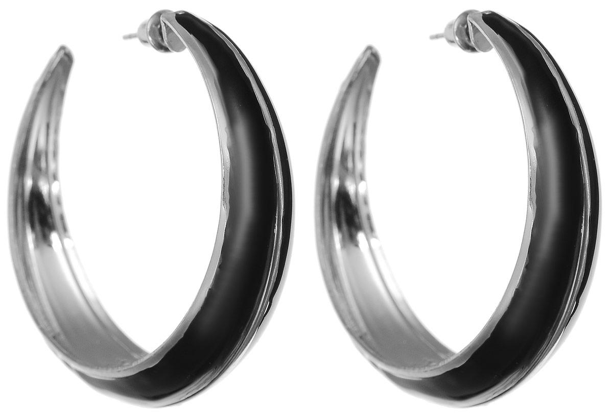 Серьги Art-Silver, цвет: черный. 33999-250Серьги-кольцаСерьги Art-Silver изготовлены из бижутерного сплава и выполнены в виде объемных колец со вставками из эмали. Изделие застегивается с помощью замка-гвоздика.
