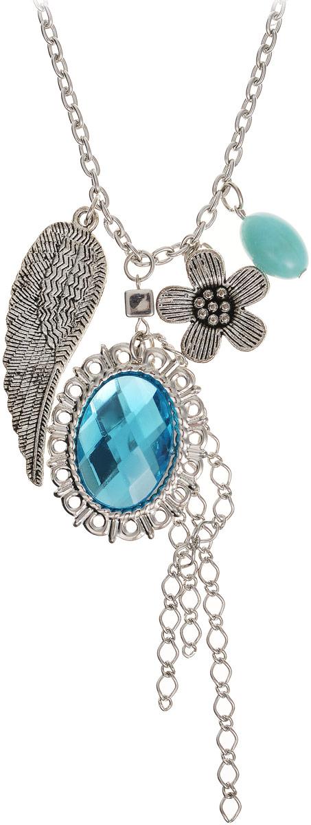 Подвеска Art-Silver, цвет: серебряный, голубой. 7551-362Брошь-инталияПодвеска Art-Silver выполнена из высококачественного бижутерного сплава и пластика. Изделие представляет собой цепочку, украшенную декоративными элементами разной формы. Подвеска застегивается с помощью замка-карабина.