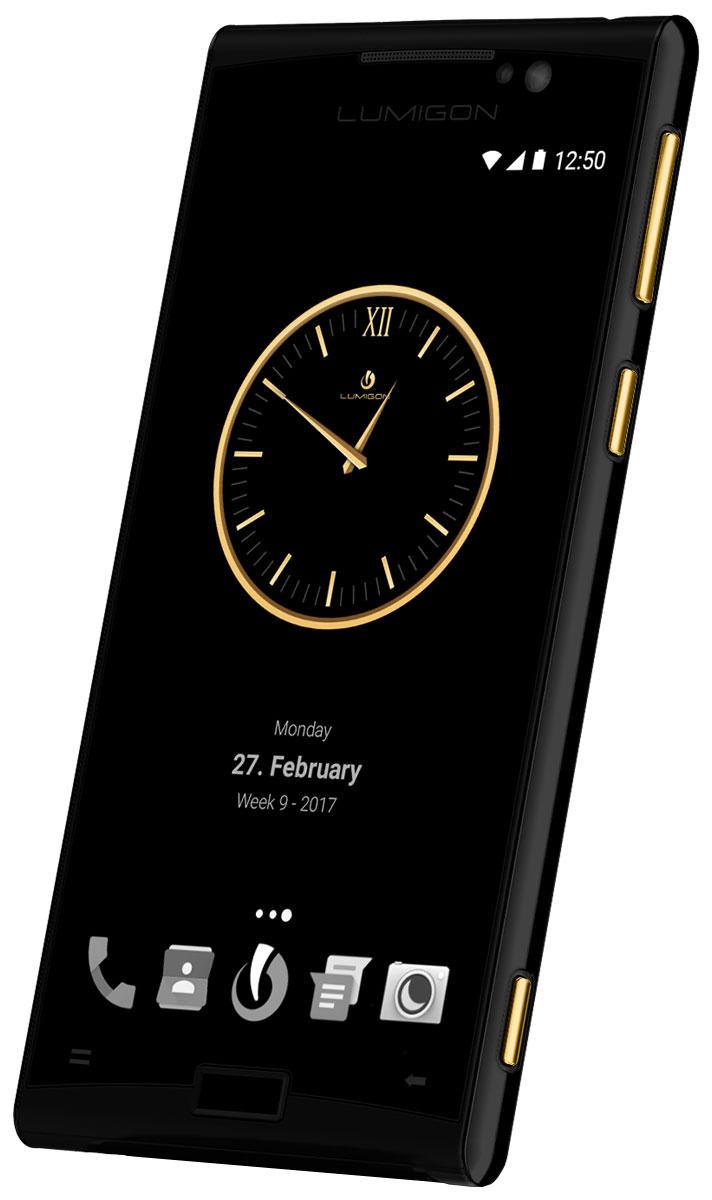 Lumigon T3 Exclusive, Black Steel Gold5711860000431Премиальный смартфон Lumigon T3 изготовлен из корабельной нержавеющей стали 316, 24-каратного золота и ударопрочного стекла Corning Gorilla Glass 4.Каждая уникальная функция была создана для удовлетворения реальных каждодневных потребностей. Каждая черта дизайна и выбор материала тщательно продумывается для того, чтобы служить практическим целям.Замечательная камера 13MP/4K камера с двухтонной вспышкой и очень быстродействующей технологией PDAF (система фазовой автофокусировки / Phase Detection Autofocus). Специальная кнопка для камеры сбоку обеспечивает быстрый доступ к камере, при этом кнопки громкости могут использоваться для уменьшения и увеличения.Контролируемый жестами дисплей BackTouch может использоваться для пролистывания фотографий и прокрутки веб-сайтов. Использование интегрированной камеры с технологией BackTouch является очень удобным для того, чтобы делать селфи.Клавиша действия ActionKey может быть настроена для включения / выключения вспышки, открывания приложений и т.д. Действия могут выполняться путем как короткого, так и длинного нажатия. Клавиша действия ActionKey может использоваться, даже если экран выключен.Хранилище Vault является уникальным приложением Lumigon, благодаря которому изображения, контакты, конфиденциальные уведомления, PIN-коды, приложения и т.д. могут храниться и оставаться защищенными, если вы не хотите, чтобы другие получили доступ к вашим конфиденциальным данным.T3 является первым смартфоном в мире, оснащенным камерой ночного видения. Он позволяет делать все виды ночных записей и запечатлеть предметы, которые невидимы в темноте.В T3 имеется фронтальная камера 5MP/2K, которая оснащена вспышкой, позволяющей делать четкие селфи, совершать видео-звонки или использовать приложение Mirror (Зеркало) даже в условиях темноты.За счет инфракрасного приемника и передатчика телефон может использоваться в качестве пульта дистанционного управления для телевизора, воспроизведения аудио, вид