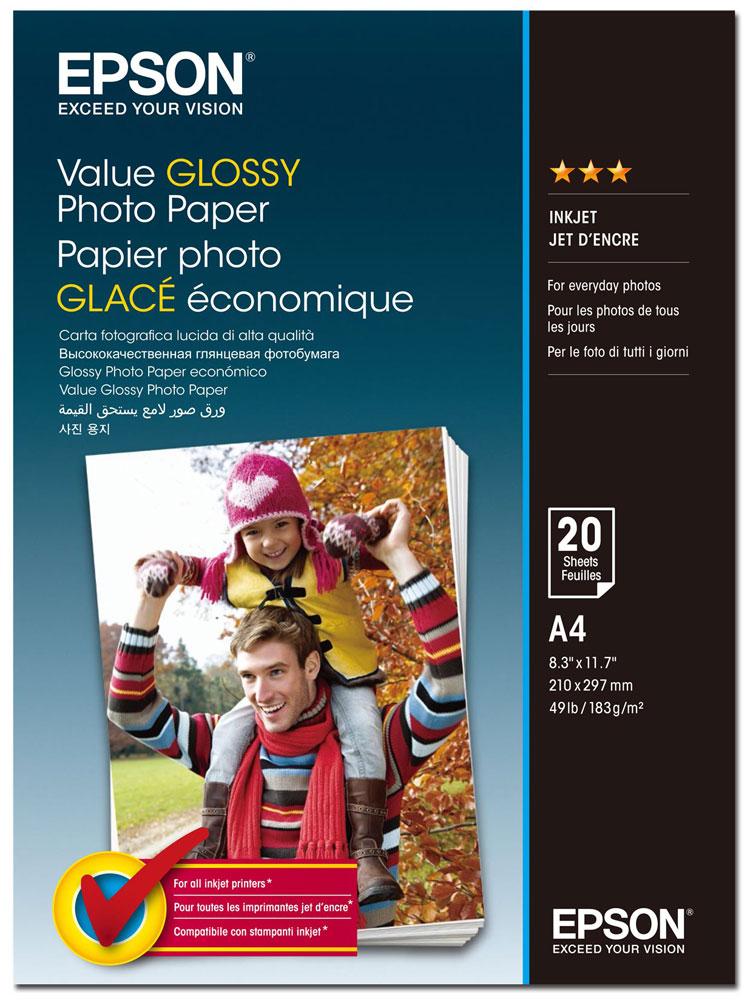 Epson C13S400035 Value Glossy фотобумага A4, 20 листов -  Бумага для печати