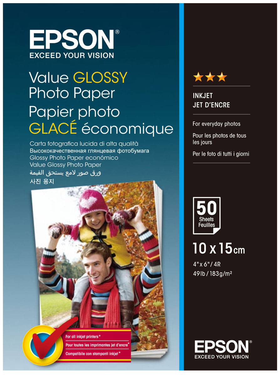 Epson C13S400038 Value Glossy фотобумага 10x15, 50 листов -  Бумага для печати