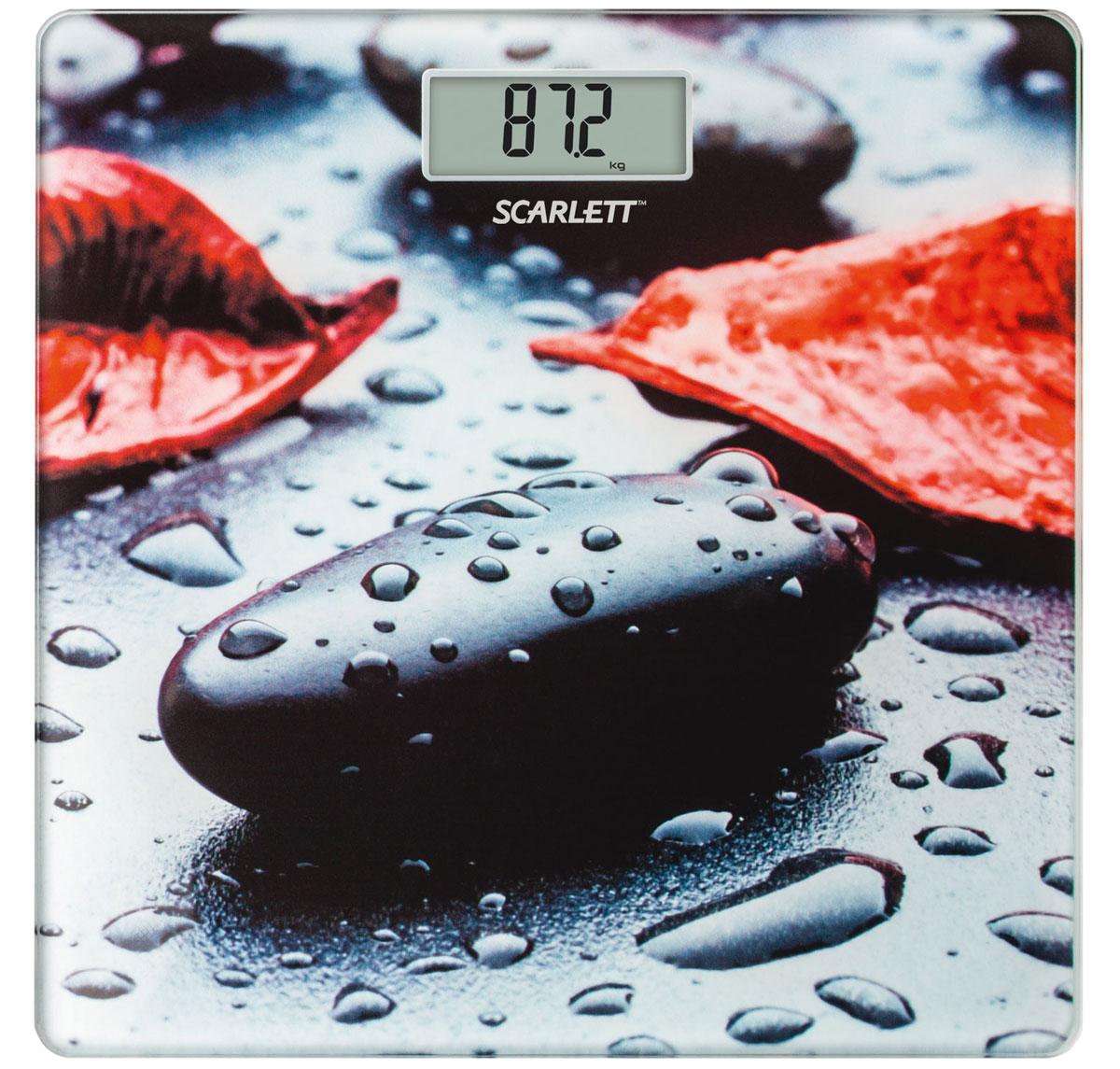 Scarlett SC-BS33E052 Rock весы напольныеSC-BS33E052Напольные весы Scarlett SC-BS33E052 имеют уникальный дизайн платформы. Это простой и удобный способ контролировать свой вес. Максимальная нагрузка на данную модель может составлять 180 кг.При перегрузе загорится предупреждающий сигнал. Также специальная индикация сообщит пользователям о необходимости замены элемента питания. Чтобы весы начали работать, достаточно просто встать на них. После взвешивания прибор отключится самостоятельно.Высокочувствительные датчикиИндикатор перегрузкиИндикатор батарейкиЦифровой жидкокристаллический дисплейПрорезиненные ножки