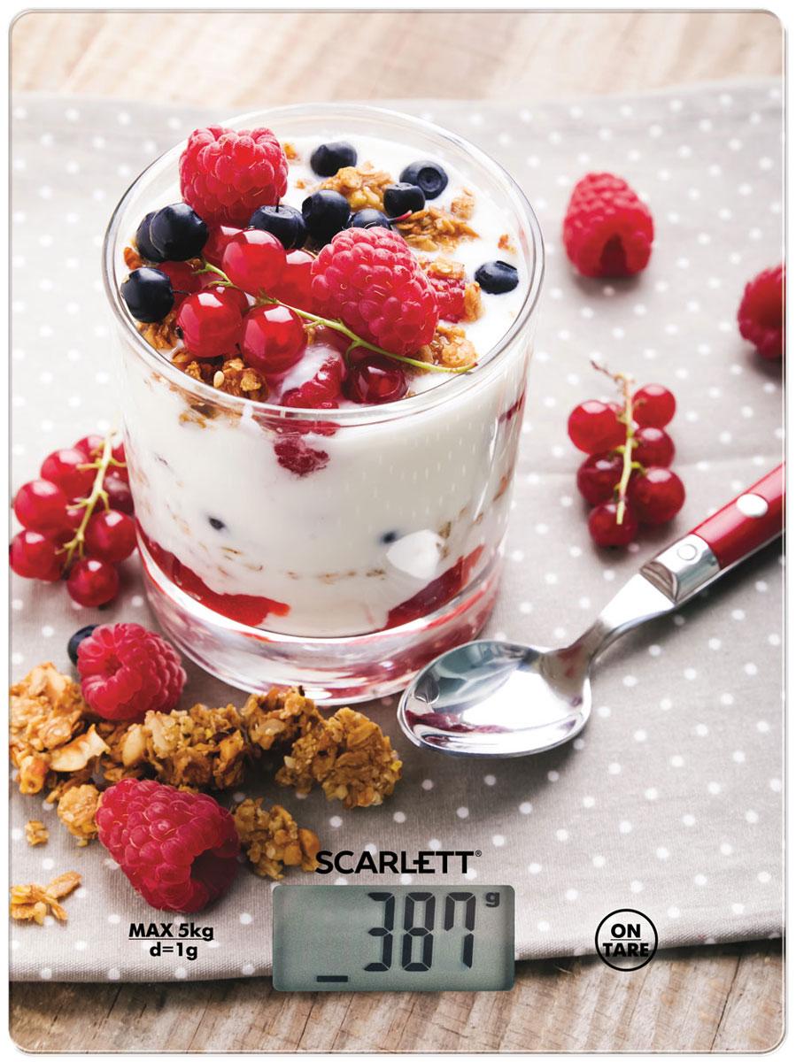 Scarlett SC-KS57P22 Healthy Breakfast весы кухонныеSC-KS57P22Электронные кухонные весы Scarlett SC-KS57P22 станут незаменимым помощником на вашей кухне и позволят достаточно точно взвесить необходимое количество ингредиентов для любого блюда. За счет своих компактных размеров им найдется применение на любой, даже самой маленькой кухне, а яркий цветовой дизайн привлечет внимание.Платформа выполнена из закаленного стекла, а на цифровом табло отображаются все характеристики присущие электронным весам: тарокомпенсация, индикация перегрузки или заряда батареек. Несомненным плюсом данной модели является измерение объема жидкости.