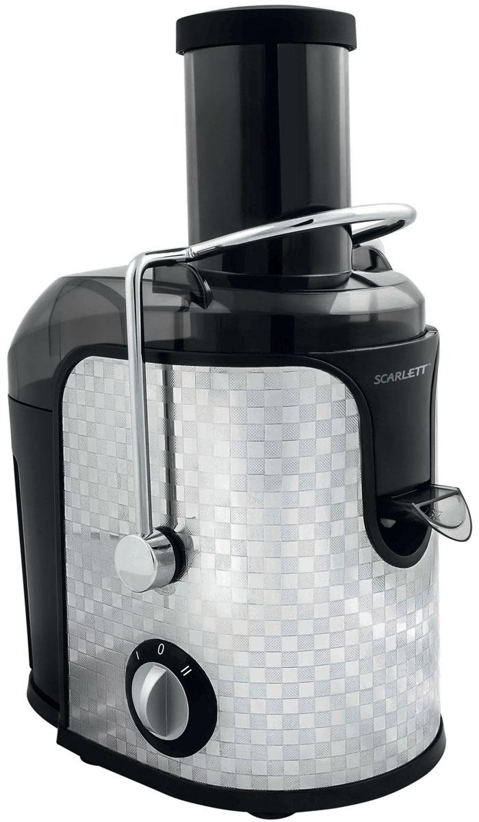 Scarlett SC-JE50S11 Checkers соковыжималкаSC-JE50S11_CСоковыжималка Scarlett SC-JE50S11 - это отличный вариант для приготовления свежевыжатого сока каждый день. Она предназначена для отжима сока из любых овощей и фруктов.Модель оснащена удобным загрузочным лотком диаметром 75 мм с возможностью отжимать сок из целых плодов, не очищая и не разрезая их на части. Две скорости работы предназначены для мягких и более твердых плодов.Титановое покрытие Durable Titanium сетчатого фильтра для сока гарантирует длительный срок службы прибора, а также способствует сохранению витаминов и ферментов в соке благодаря химической нейтральности к натуральным кислотам.Сливной носик с блокировкой подачи сокаАвтоматическая блокировкаОтделка корпуса из нержавеющей стали
