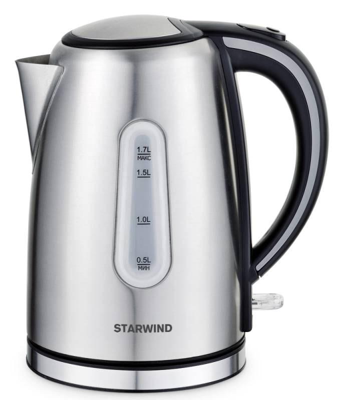 Starwind SKS5540, Silver чайник электрическийSKS5540Электрический чайник Starwind SKS5540 прост в управлении и долговечен в использовании. При его производстве используются высококачественные материалы. Прозрачное окошко позволяет определить уровень воды. Мощность 2200 Вт быстро вскипятит 1,7 литра воды. Для обеспечения безопасности при повседневном использовании предусмотрены функция автовыключения, а также защита от включения при отсутствии воды.Контроллер STRIX KEAI