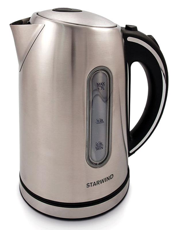 Starwind SKS4210, Silver чайник электрическийSKS4210Электрический чайник Starwind SKS4210 прост в управлении и долговечен в использовании. При его производстве используются высококачественные материалы. Прозрачное окошко позволяет определить уровень воды. Мощность 2200 Вт быстро вскипятит 1,7 литра воды. Для обеспечения безопасности при повседневном использовании предусмотрены функция автовыключения, а также защита от включения при отсутствии воды.