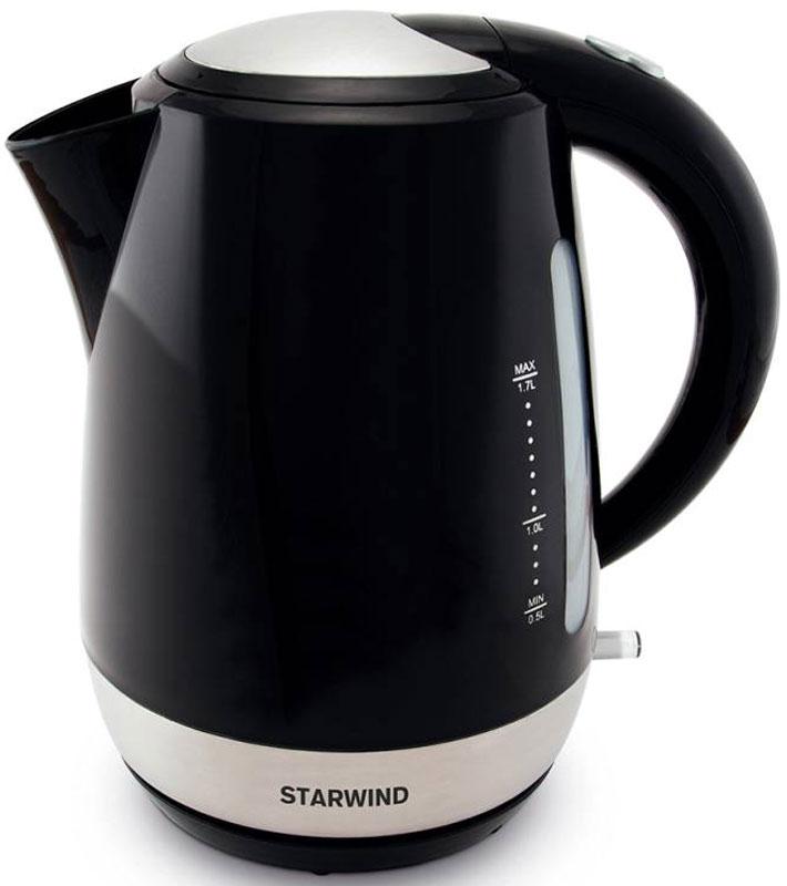 Starwind SKP4622, Black чайник электрическийSKP4622Электрический чайник Starwind SKP4622 прост в управлении и долговечен в использовании. При его производстве используются высококачественные материалы. Прозрачное окошко позволяет определить уровень воды. Мощность 2000 Вт быстро вскипятит 1,7 литра воды. Для обеспечения безопасности при повседневном использовании предусмотрены функция автовыключения, а также защита от включения при отсутствии воды.Контроллер STRIX