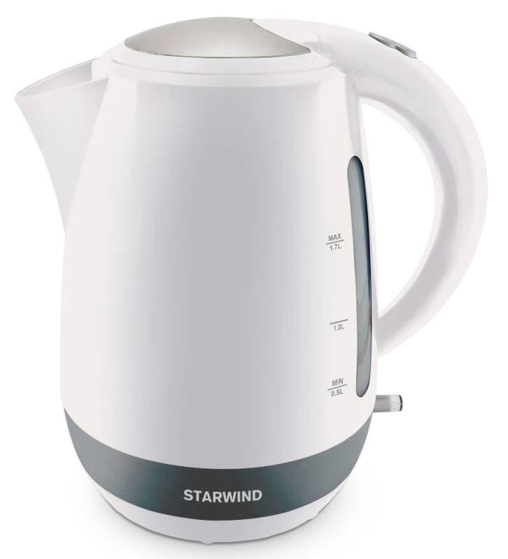 Starwind SKP4621, White чайник электрическийSKP4621Электрический чайник Starwind SKP4621 прост в управлении и долговечен в использовании. При его производстве используются высококачественные материалы. Прозрачное окошко позволяет определить уровень воды. Мощность 2000 Вт быстро вскипятит 1,7 литра воды. Для обеспечения безопасности при повседневном использовании предусмотрены функция автовыключения, а также защита от включения при отсутствии воды.Контроллер STRIX
