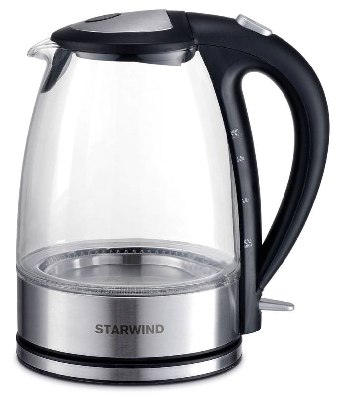Starwind SKG7650, Black Silver чайник электрическийSKG7650Электрический чайник Starwind SKG7650 прост в управлении и долговечен в использовании. При его производстве используются высококачественные материалы. Мощность 2200 Вт быстро вскипятит 1,7 литра воды. Для обеспечения безопасности при повседневном использовании предусмотрена функция автовыключения.Контроллер STRIX