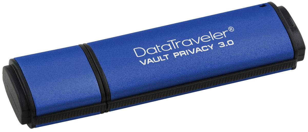 Kingston DataTraveler Vault Privacy 3.0 32GB USB-накопительDTVP30/32GBUSB-накопитель DataTraveler Vault Privacy 3.0 компании Kingston обеспечивает доступную по цене защиту бизнес-класса с 256-битным аппаратным шифрованием AES в режиме XTS. Он защищает 100% хранящихся данных и усиливает комплексную парольную защиту при помощи специальных требований для предотвращения несанкционированного доступа. Кроме того, накопитель блокируется и переформатируется после 10 попыток взлома.Организации могут настраивать накопители, чтобы они соответствовали внутренним корпоративным требованиям. С помощью настройки можно нанести логотип (Co-logo), указать серийные номера, количество попыток ввода пароля, минимальную длину пароля и собственные идентификаторы продукции для интеграции в стандартное конечное ПО управления (создание белых списков).Технология SuperSpeed USB 3.0 позволяет не идти на компромиссы между скоростью передачи и безопасностью. DTVP 3.0 сертифицирован по FIPS 197 и соответствует стандарту TAA, поэтому удовлетворяет самым распространенным корпоративным и нормативным требованиям.