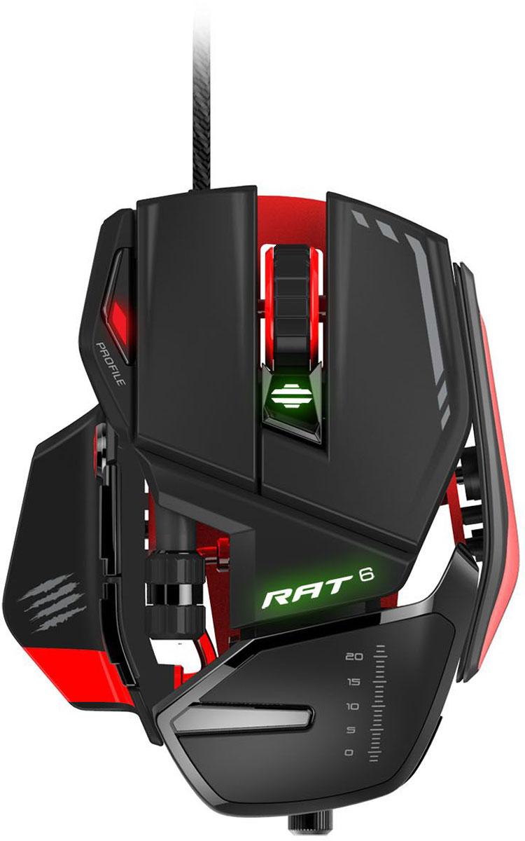 Mad Catz R.A.T. 6, Black Red игровая мышьPCAmc68Игровая мышь Mad Catz R.A.T. 6 специально разработана с применением современных материалов, дабы полностью соответствовать всем требованиям самых искушенных геймеров.Точность и надежность для любого вида игры. Прочность, которая не подведетВся линейка RAT является особенно прочной, в ней используются материалы и детали, которые отвечают запросам пользователей. В основании RAT 6 супер-легкие шасси, а позиция сенсора точно выверена, что дает идеальный баланс для игры на вашей поверхности. Это также дает возможность крепкой основы для всех остальных модулей.Сверхнадежные переключатели OMRON, ведущие в индустрии, выдерживают 50 миллионов нажатий. Это обеспечивает высокий уровень действий в минуту (APM - Actions Per Minute), и геймер не пропустит ни одной атаки.Динамическая эргономика мыши позволит настроить мышь к вашему стилю игрыВсе игры разные. Мыши RAT сделаны с такой точностью, что основные части устройства можно настроить под ваш стиль игры. У RAT 6 есть настраиваемая подставка под кисть и система грузов. И поэтому, когда вы держите ее всей ладонью, одними ногтями или кончиками пальцев, RAT 6 быстро адаптируется, настраивая подходящую вам длину. Далее вы можете улучшить скорость реакции с помочью регулируемой системы грузов. Подсветка RGB ХамелеонИнтеллектуальный контроль подсветки - 16.8 миллионов цветов. Благодаря 3 новым независимым зонам RGB иллюминации RAT переходит на новое измерение. Настройки цвета помогут сделать мышь RAT центральным элементом вашего игрового оборудования.Используя настоящие режимы, вы можете так же контролировать скорость эффектов подсветки, таких как дыхание, пульс и цикличность появления цветов.Собственное программное обеспечение FLUXНастройки мыши RAT не просто сделают игру более удобной физически. Не важно, какая у вас манера игры, каждая характеристика сенсора, кнопок и подсветки может быть усовершенствована.Профили: создавайте и редактируйте профили для всех ваших игр и ПОНазначьте ко