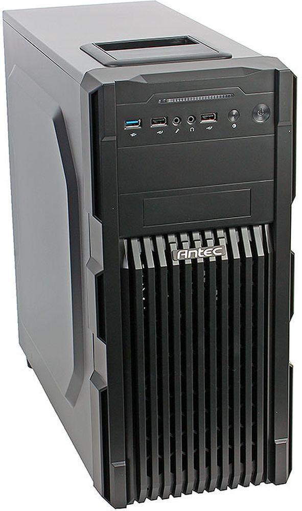 Antec GX200 компьютерный корпус0-761345-15200-6Antec GX200 - практичный стальной черный корпус формата Midi-Tower для ПК, который имеет передний вентиляционный гриль со сменным фильтром.Корпус способен вместить материнские платы до типоразмера ATX, производительные видеокарты длиной до 380 мм, и процессорные системы охлаждения высотой до 158 мм. В данной модели имеются крепления для одного 2.5-дюймового и четырех 3.5-дюймовых накопителей. Число слотов расширения равно семи.На верхней части корпуса есть удобный отсек для хранения аксессуаров и мобильных устройств. Спереди можно подключить внешние устройства к двум портам USB 2.0.