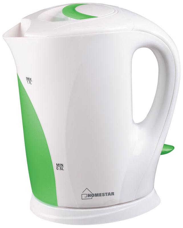 HomeStar HS-1004, White Green электрический чайник54 002681Электрический чайник HomeStar HS-1004 прост в управлении и долговечен в использовании. Изготовлен из высококачественных материалов. Прозрачное окошко позволяет определить уровень воды. Мощность 2200 Вт вскипятит 1,7 литра воды в считанные минуты. Для обеспечения безопасности при повседневном использовании предусмотрены функция автовыключения, а также защита от включения при отсутствии воды.