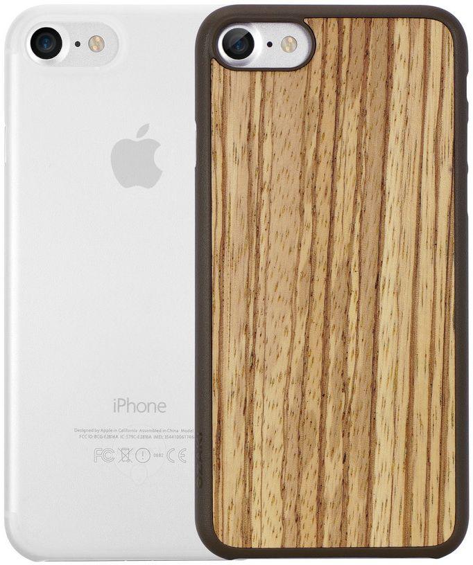Ozaki O!coat Jelly+Wood набор чехлов для iPhone 7, Zebrano ClearOC721ZC