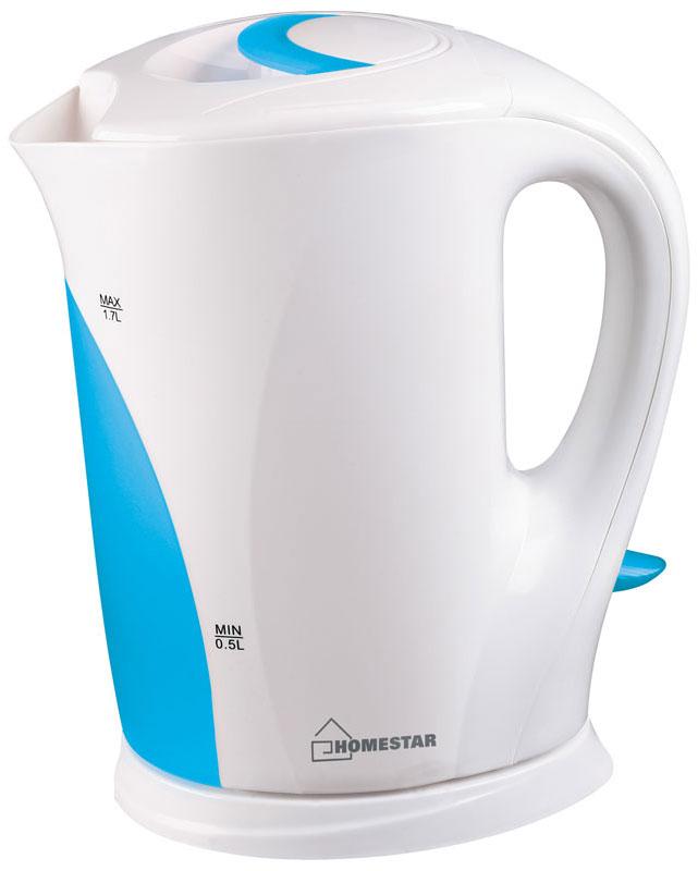 HomeStar HS-1004, White Light Blue электрический чайник54 002680Электрический чайник HomeStar HS-1004 прост в управлении и долговечен в использовании. Изготовлен из высококачественных материалов. Прозрачное окошко позволяет определить уровень воды. Мощность 2200 Вт вскипятит 1,7 литра воды в считанные минуты. Для обеспечения безопасности при повседневном использовании предусмотрены функция автовыключения, а также защита от включения при отсутствии воды.