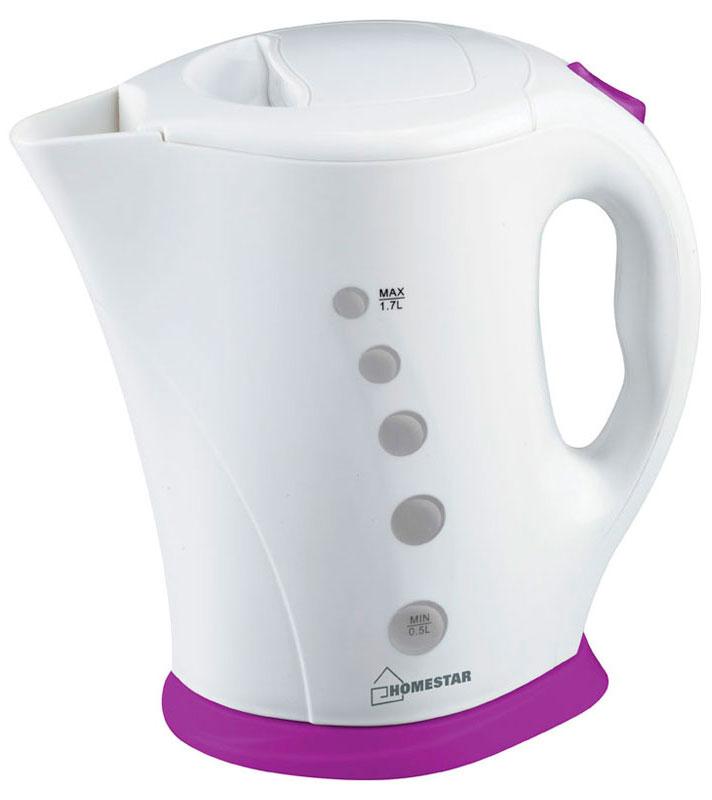 HomeStar HS-1005, White Purple электрический чайник54 002682Электрический чайник HomeStar HS-1005 прост в управлении и долговечен в использовании. Изготовлен из высококачественных материалов. Прозрачное окошко позволяет определить уровень воды. Мощность 2200 Вт вскипятит 1,7 литра воды в считанные минуты. Для обеспечения безопасности при повседневном использовании предусмотрены функция автовыключения, а также защита от включения при отсутствии воды.