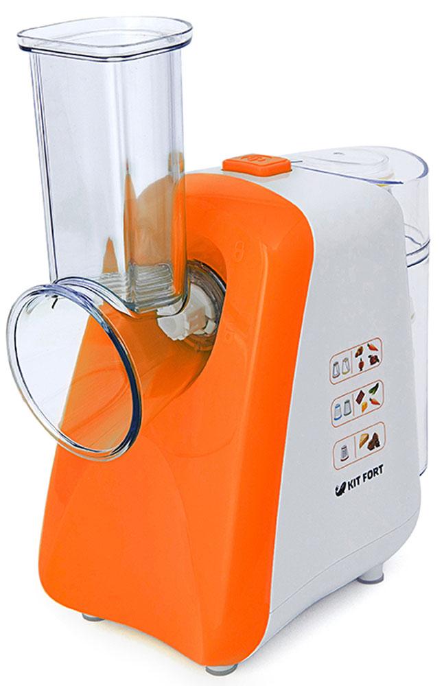 Kitfort КТ-1318-2 измельчительКТ-1318-2Измельчитель Kitfort КТ-1318 предназначен для терки и шинковки овощей, фруктов и других пищевых продуктов в домашних условиях. В комплекте есть 3 терочных и 2 шинковочных ножа. Лезвия быстросменные, для их хранения предназначен съемный стакан с крышкой, устанавливаемый сзади.