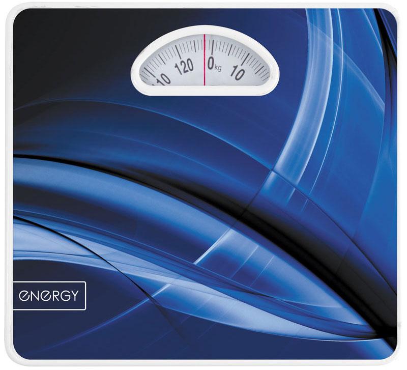 Energy ENМ-408B напольные весы54 011623Напольные механические весы Energy ENМ-408 позволят быстро и просто измерить массу тела без необходимости покупать какие-либо элементы питания. Прочная платформа способна выдержать вес до 120 кг. Крупный шрифт надписей на шкале отлично подойдет для людей со слабым зрением.