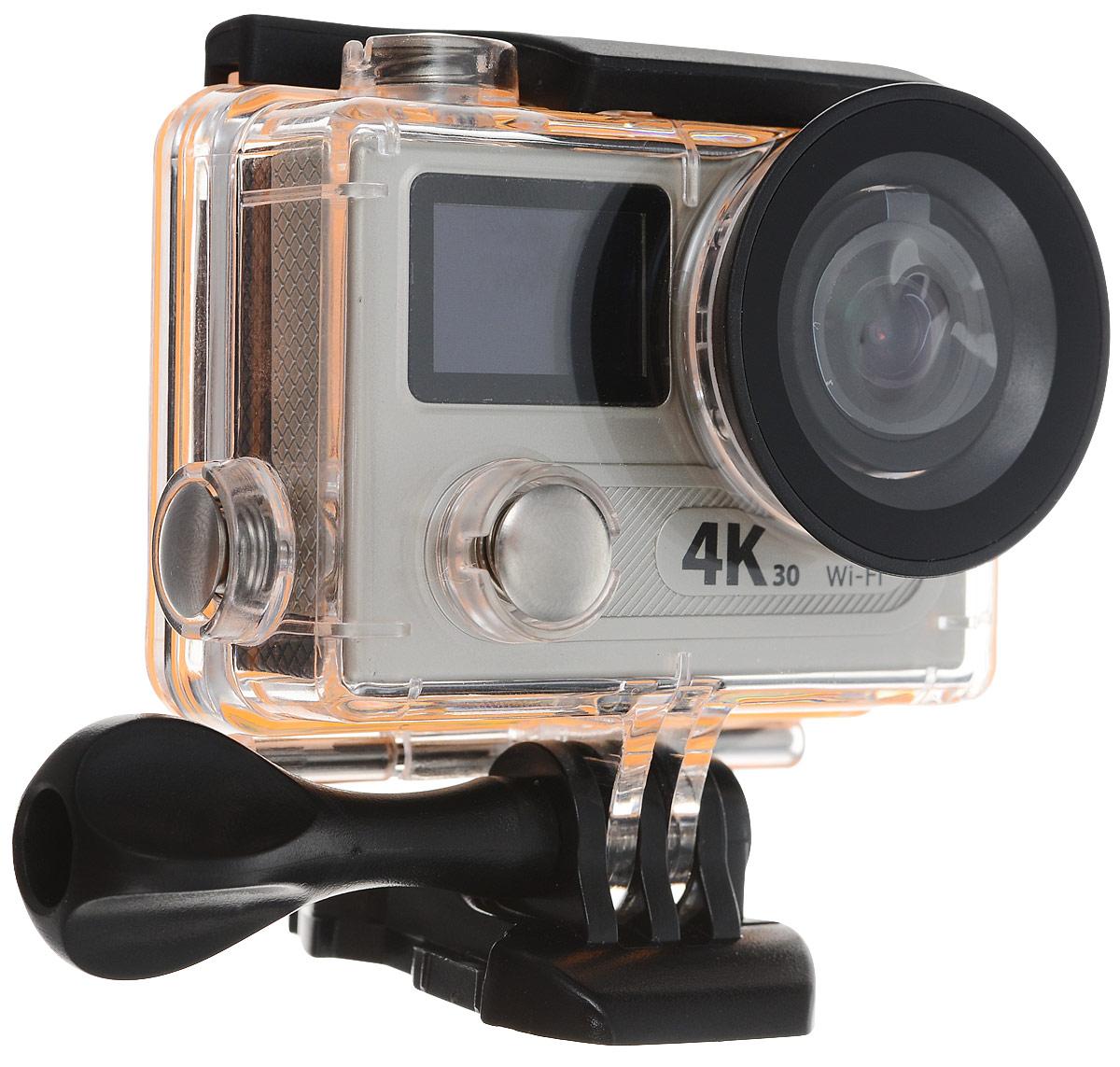 Eken H8R Ultra HD, Grey экшн-камераH8R_greyЭкшн-камера Eken H8R Ultra HD позволяет записывать видео с разрешением 4К и очень плавным изображением до 30 кадров в секунду. Камера имеет два дисплея: 2 TFT LCD основной экран и 0.95 OLED экран статуса (уровень заряда батареи, подключение к WiFi, режим съемки и длительность записи). Эта модель сделана для любителей спорта на улице, подводного плавания, скейтбординга, скай-дайвинга, скалолазания, бега или охоты. Снимайте с руки, на велосипеде, в машине и где угодно. По сравнению с предыдущими версиями, в Eken H8R Ultra HD вы найдете уменьшенные размеры корпуса, увеличенный до 2-х дюймов экран, невероятную оптику и фантастическое разрешение изображения при съемке 30 кадров в секунду!Управляйте вашей H8R на своем смартфоне или планшете. Приложение Ez iCam App позволяет работать с браузером и наблюдать все то, что видит ваша камера. В комплекте с камерой идет пульт ДУ работающий на частоте 2,4 Ггц. Он позволяет начинать и заканчивать съемку удаленно.