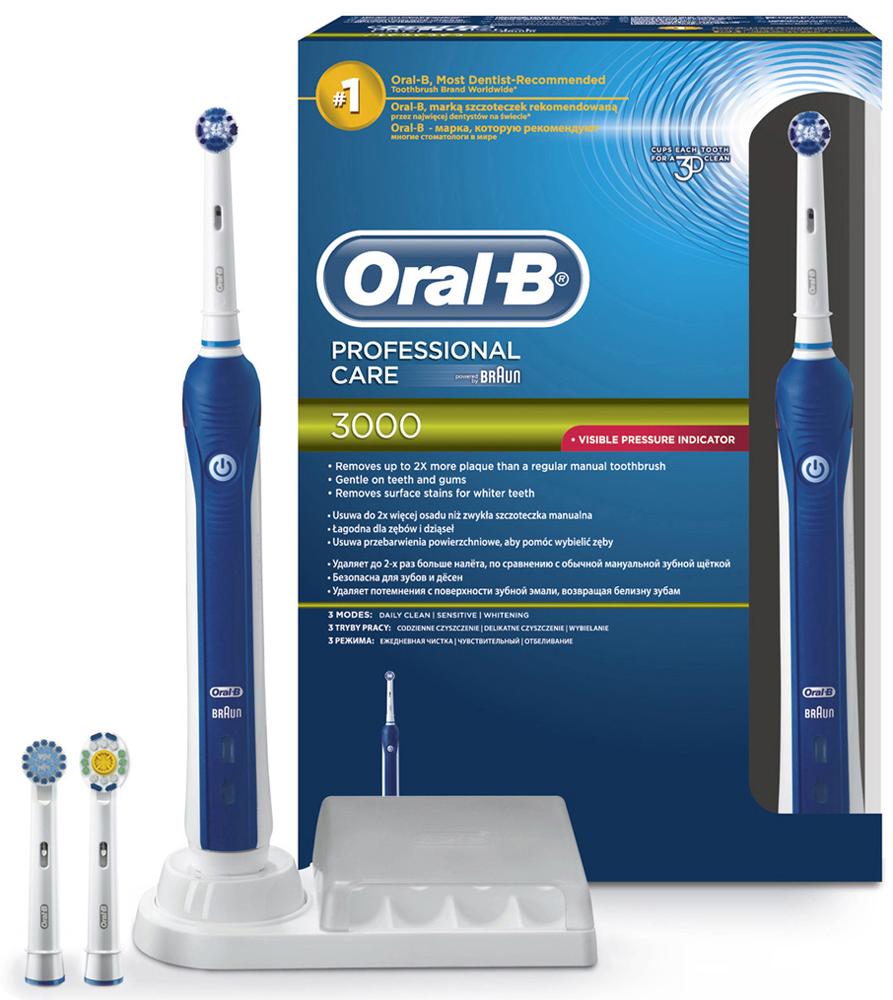 Электрическая зубная щетка Oral-B PС 3000 Precision Clean4210201784982Электрическая зубная щетка Oral-B Professional Care 3000 удаляет до двух раз больше зубного налета, чем мануальная зубная щетка. Щетинки насадки Presicion Clean имеют среднюю жесткость, позволяя бережно и качественно удалять налет, окружая каждый зуб со всех сторон.Щетка имеет 3 режима чистки: «Ежедневная чистка», «Для чувствительных зубов» и «Отбеливание (Полировка)»Комплектация: аккумуляторная электрическая зубная щетка (1 шт.), сменная насадка Precision Clean (1 шт.), сменная насадка 3D White (1 шт.), сменная насадка Sensitive (1 шт.), зарядное устройство (1 шт.), контейнер для хранения насадок (1 шт.)8800 возвратно-вращательных движений + 40000 пульсирующих движений.Подходит для детей с 3 лет.Перейдите на новый уровень чистки за 2 минуты!* Удаляет до 100% больше зубного налета, чем мануальная зубная щетка.* Oral-B – марка зубных щеток №1, используемая большинством стоматологов мира!* (* на основании международных опросов P&G среди репрезентативной выборки стоматологов, проводимых регулярно, в т.ч. 2013-2015 гг.)* Три режима чистки обеспечивают комплексный уход за здоровьем полости рта.* Сочетается со всеми насадками Oral-B (кроме звуковой насадки Sonic).* Гарантия результата или возврат денег. (Испытайте в действии зубную щетку Oral-B в течение 30 дней. Если вы не будете на 100% удовлетворены результатом, Oral-B вернет деньги. Подробная информация: vk.com/insmiles и everydayme.ru/teg/oral-b )* Производится в Германии.* Визуальный датчик давления не только автоматически отключает пульсацию, но и загорается красным, помогая привыкнуть к правильной технике чистки. Закругленные кончини щетинок защищают эмаль.* Разработано со стоматологами: 3D-технология чистки совмещает возвратно-вращательные движения с пульсацией: пульсирующие движения бережно разрыхляют зубной налет, а возвратно-вращательные движения выметают его и массируют десны.