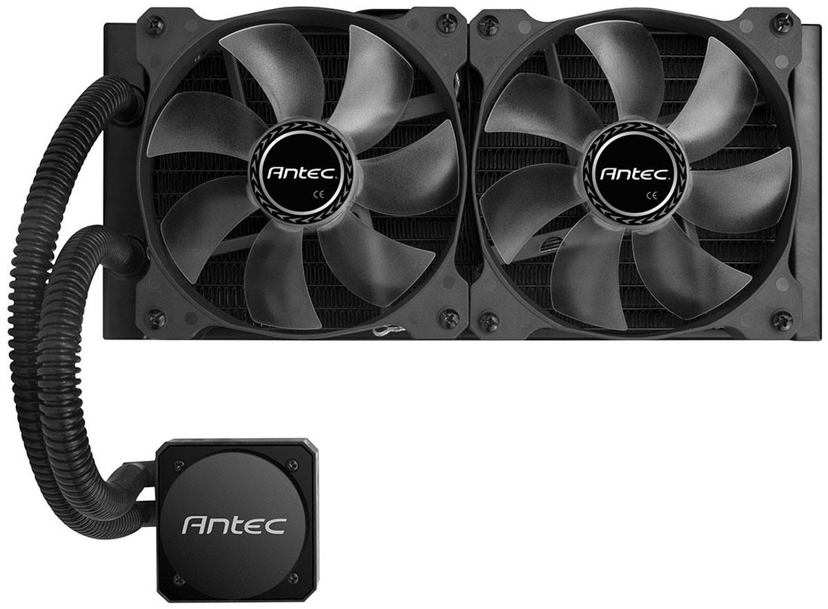 Antec H1200 Pro система охлаждения для процессора0-761345-10900-0Antec H1200 Pro - процессорная система охлаждения, которая отлично подойдет для игрового компьютера. Эта компактная система сочетает в себе высокую эффективность, производительность, и долговечность – заявлено 150000 часов работы.Водоблок имеет крупное медное основание, и он расположен в одном корпусе с помпой. Помпа имеет намоточный трёхфазный двигатель, и способна создать гидростатическое давление столба воды высотой 230 см.За обдув радиаторов жидкостных систем охлаждения отвечают два 120-мм вентилятора, которые оснащены синей светодиодной подсветкой и поддерживают регулировку скорости вращения.