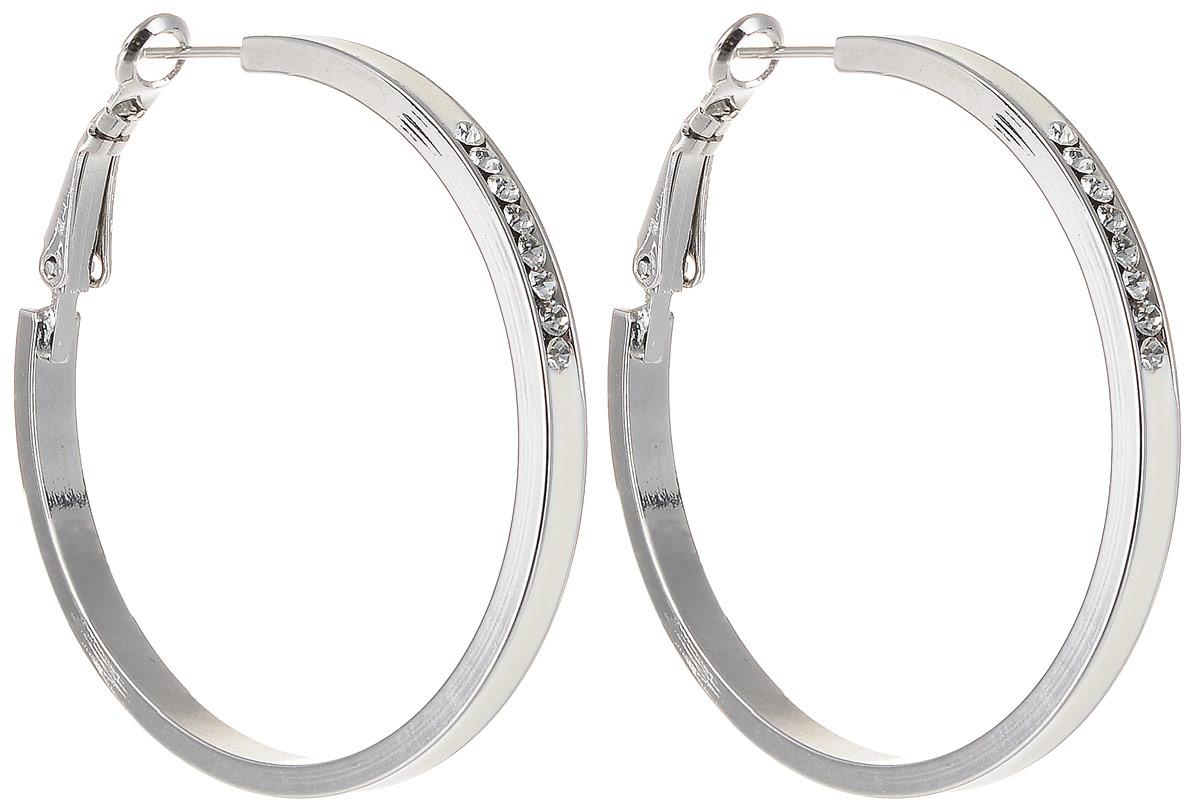 Серьги Art-Silver, цвет: серебристый. 15527Б-473Серьги-кольцаСтильные серьги Art-Silver выполнены из бижутерного сплава. Серьги оформлены оригинальными декоративными вставками. Серьги выполнены с замками-булавками. Такие серьги будут ярким дополнением вашего образа.