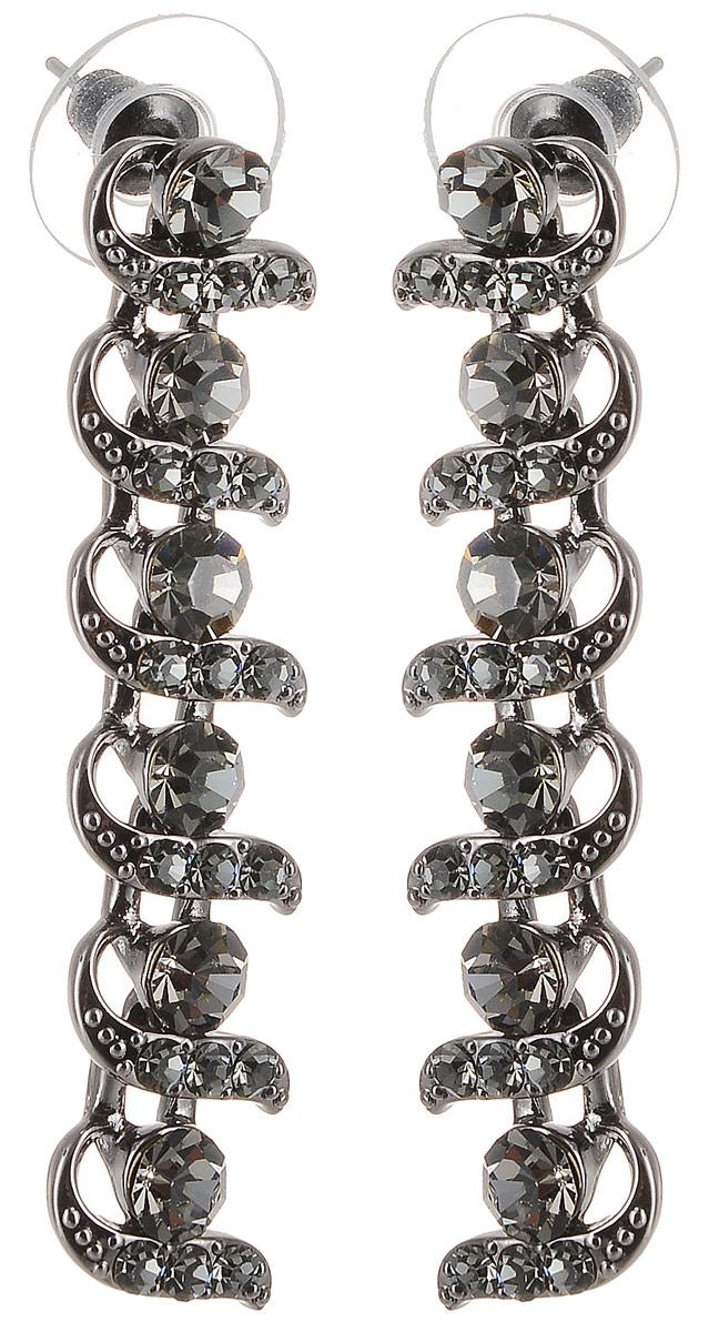 Серьги Art-Silver, цвет: черный. 29156-690Серьги с подвескамиСтильные серьги Art-Silver выполнены из бижутерного сплава. Серьги оформлены оригинальными декоративными вставками. Серьги выполнены с замками-гвоздиками. Такие серьги будут ярким дополнением вашего образа.