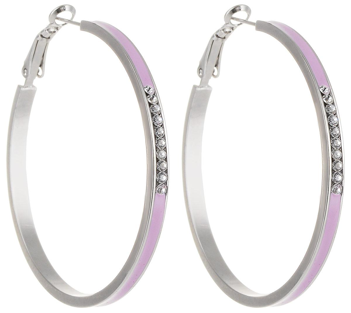 Серьги Art-Silver, цвет: розовый. 141М-641Серьги-кольцаСтильные серьги Art-Silver выполнены из бижутерного сплава. Серьги оформлены декоративными вставками. Серьги выполнены с замками-булавками. Такие серьги будут ярким дополнением вашего образа.