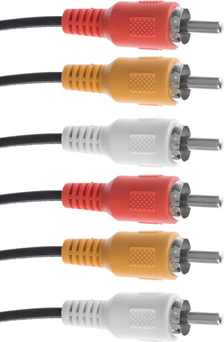 D-Color кабель 3RCA 1 м4603725280823D-Color - высококачественный кабель 3RCA. На контакты разъемов нанесен слой золота по технологии вакуумного напыления, обеспечивающий повышение качественных показателей изображения и звука, а также отсутствие помех при передаче сигналов.