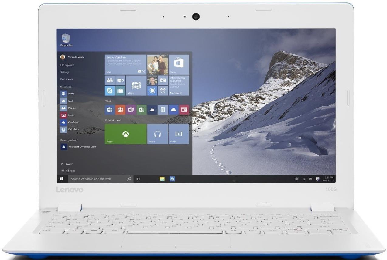 Lenovo IdeaPad 100S-11IBY, Blue White (80R2003LRK)80R2003LRKЛегкий и тонкий ноутбук Lenovo IdeaPad 100S разработан для современной жизни.Быстрый просмотр сайтов и файлов, потрясающе четкое изображение и высокая скорость отклика — этим и раньше могли похвастаться устройства Lenovo, оснащенные четырехъядерным процессором. Процессор Intel Atom с легкостью справится с любыми задачами, от работы до игр.Мощный и недорогой 11-дюймовый ноутбук Ideapad 100S прост в использовании и способен работать до 8 часов от аккумулятора.Больше не придется повсюду таскать с собой тяжелый, неуклюжий ноутбук. При толщине всего 17,5 мм и весе 1 кг ноутбук Ideapad 100S превосходно впишется в вашу динамичную и насыщенную событиями жизнь.Ideapad 100S оснащен портами USB 2.0 и HDMI, а также удобным слотом для карты MicroSD, при помощи которой легко хранить и переносить данные. Поддержка Wi-Fi 802.11 b/g/n и Bluetooth 4.0 позволят вам подключаться к сети Интернет, где бы вы ни находились.Точные характеристики зависят от модели.Ноутбук сертифицирован EAC и имеет русифицированную клавиатуру и Руководство пользователя.