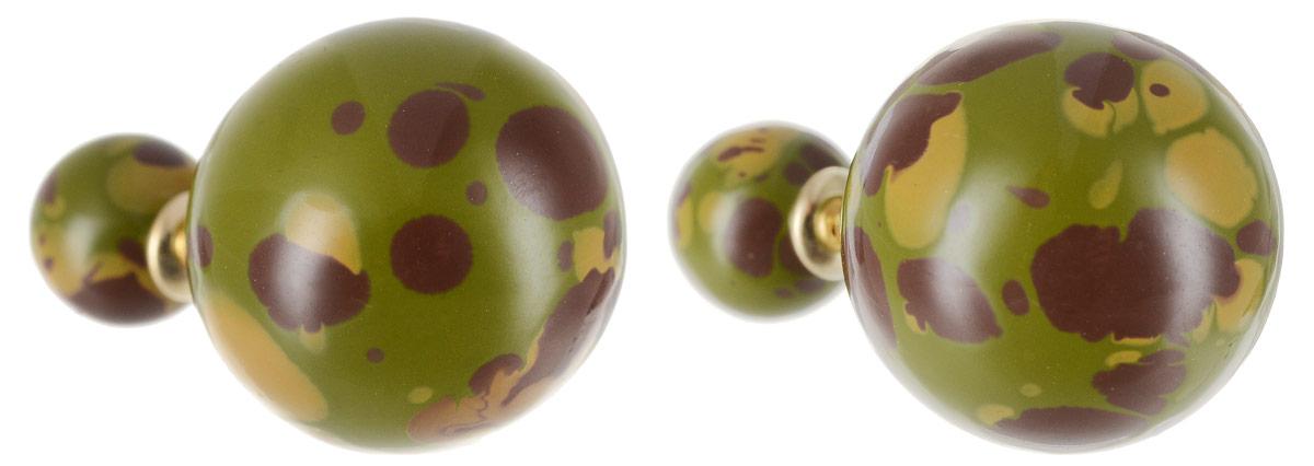 Серьги Art-Silver, цвет: зеленый, коричневый. 29237-3-405Пуссеты (гвоздики)Стильные серьги Art-Silver выполнены из бижутерного сплава. Серьги оформлены оригинальными декоративными вставками. Серьги выполнены с замками-гвоздиками. Такие серьги будут ярким дополнением вашего образа.