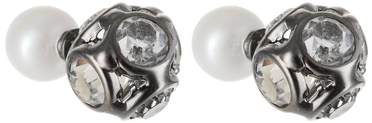 Серьги Art-Silver, цвет: черный, белый. КФ9-337Пуссеты (гвоздики)Стильные серьги Art-Silver выполнены из бижутерного сплава. Серьги оформлены оригинальными декоративными вставками. Серьги выполнены с замками-гвоздиками. Такие серьги будут ярким дополнением вашего образа.