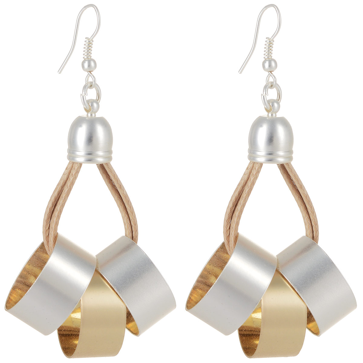 Серьги Art-Silver, цвет: золотой, серебристый. СРГ5007-1-340Серьги с подвескамиСтильные серьги Art-Silver выполнены из латуни с гальваническим покрытием. Серьги оформлены оригинальными декоративными подвесками. Серьги выполнены с замком-петлей. Такие серьги будут ярким дополнением вашего образа.