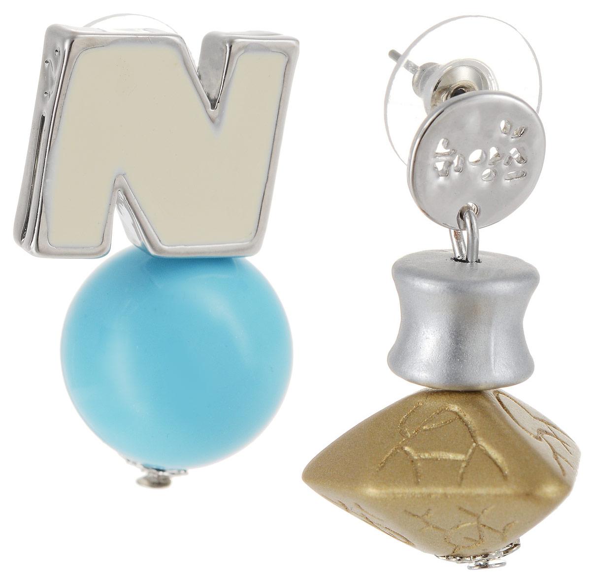Серьги Art-Silver, цвет: серебряный, голубой. СРГО44-332Серьги с подвескамиБижутерный сплав, полимер, эмаль.