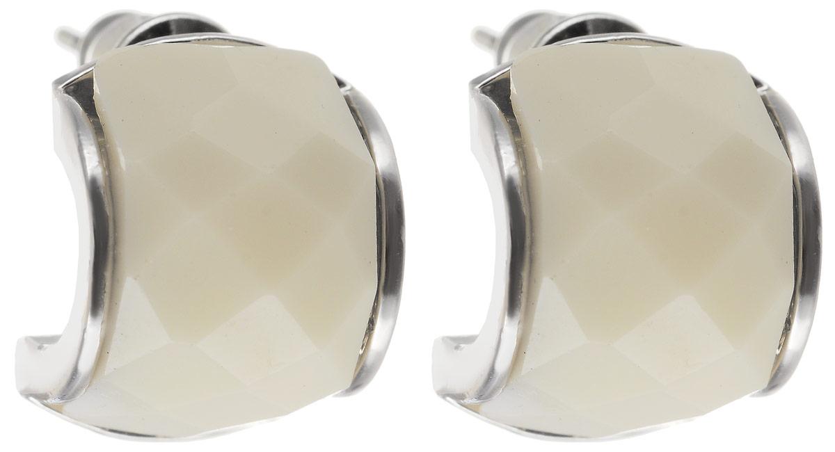 Серьги Art-Silver, цвет: белый. 147М-405Пуссеты (гвоздики)Стильные серьги Art-Silver выполнены из бижутерного сплава. Серьги оформлены оригинальными декоративными вставками. Серьги выполнены с замками-гвоздиками. Такие серьги будут ярким дополнением вашего образа.