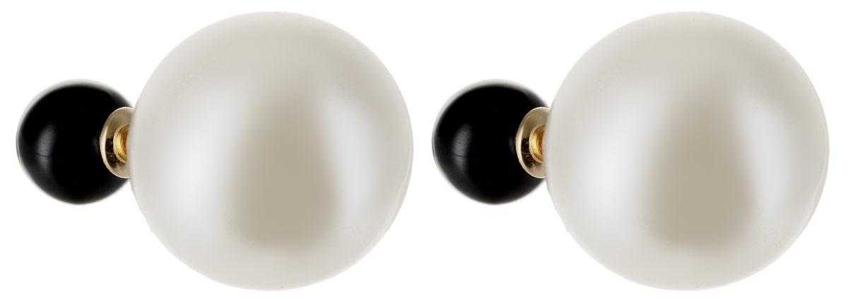 Серьги Art-Silver, цвет: белый. 29237-3-296Пуссеты (гвоздики)Бижутерный сплав, майорика, золото 0,01мкрн.