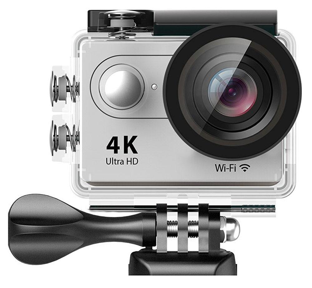 Eken H9R Ultra HD, Silver экшн-камераH9R SILVERЭкшн-камера Eken H9R Ultra HD позволяет записывать видео с разрешением 4К и очень плавным изображением до 30 кадров в секунду. Камера оснащена 2 TFT LCD экраном. Эта модель сделана для любителей спорта на улице, подводного плавания, скейтбординга, скай-дайвинга, скалолазания, бега или охоты. Снимайте с руки, на велосипеде, в машине и где угодно. По сравнению с предыдущими версиями, в Eken H9R Ultra HD вы найдете уменьшенные размеры корпуса, увеличенный до 2-х дюймов экран, невероятную оптику и фантастическое разрешение изображения при съемке 30 кадров в секунду!Управляйте вашей H9R на своем смартфоне или планшете. Приложение Ez iCam App позволяет работать с браузером и наблюдать все то, что видит ваша камера. В комплекте с камерой идет пульт ДУ работающий на частоте 2,4 ГГц. Он позволяет начинать и заканчивать съемку удаленно.