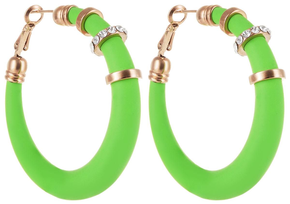 Серьги Art-Silver, цвет: зеленый. 227M-662Серьги-кольцаСтильные серьги Art-Silver выполнены из бижутерного сплава. Серьги оформлены оригинальными декоративными вставками. Серьги выполнены с замками-булавками. Такие серьги будут ярким дополнением вашего образа.