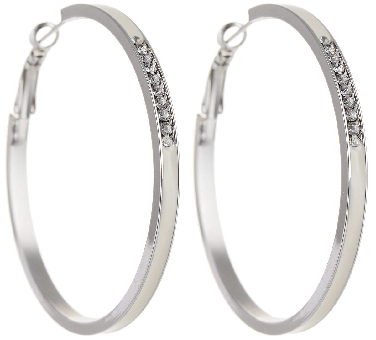 Серьги Art-Silver, цвет: серебристый. 142М-641Серьги-кольцаСтильные серьги Art-Silver выполнены из бижутерного сплава. Серьги оформлены оригинальными декоративными вставками. Серьги выполнены с замками-булавками. Такие серьги будут ярким дополнением вашего образа.