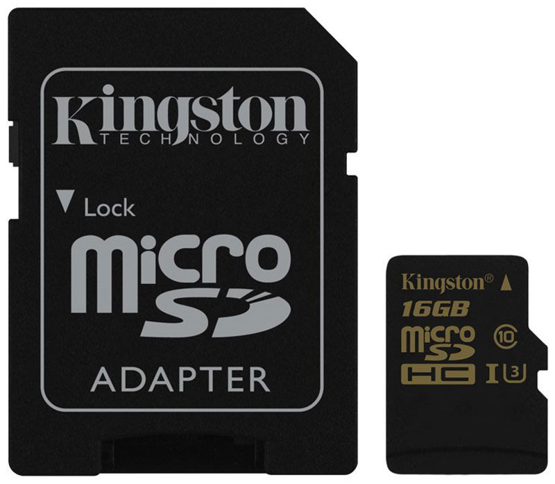 Kingston microSDHC Gold UHS-I Speed Class 3 (U3) 16GB карта памяти с адаптером