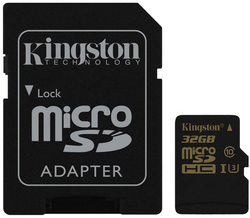 Kingston microSDHC Gold UHS-I Speed Class 3 (U3) 32GB карта памяти с адаптером